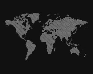 Isolated black color worldmap of lines background, earth vector illustration