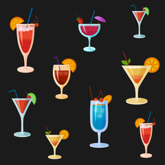 Background with vector cocktails