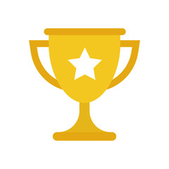 Trophy cup flat vector icon. Simple winner symbol. Gold illustration isolated on white background.