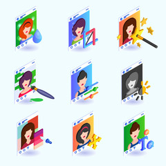 Photo editing instruments for a social network. Isometric vector illustration.