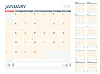 Calendar Planner for 2018 Year. Design Template. Week Starts on Sunday. 3 Months on the Page
