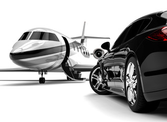 Private jet with a Luxury Car /