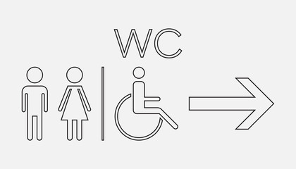 WC, toilet line vector icon . Men and women sign for restroom on white background.