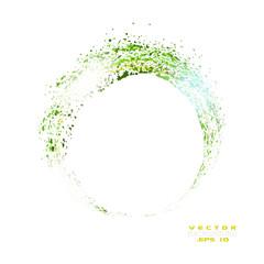 Vector sparkles circle frame. Green Frame Vector Illustration isolated on white background.