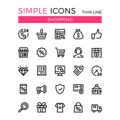 Shopping, e-commerce, online store, ecommerce vector thin line icons set. 32x32 px. Modern line graphic design for website, web design, mobile app, infographics. Pixel perfect vector outline icons set