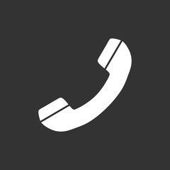 Phone icon vector, contact, support service sign isolated on black background. Telephone, communication icon in flat style.