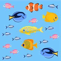 Sea and ocean fish colorful bright set