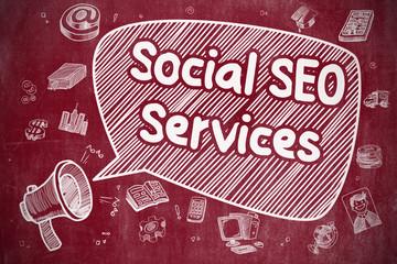 Social SEO Services - Doodle Illustration on Red Chalkboard.
