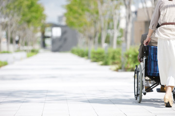 Mature woman pushing senior man on wheelchair, rear view
