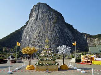 Наскальное изображение Будды в Паттайе. Тайланд.