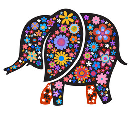 Silhouette of elephant with naive style colorful flowers