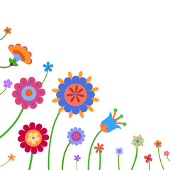 Background with naive style colorful flowers and butterfly