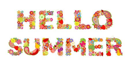 Hello, summer! Print with flowers and fruits