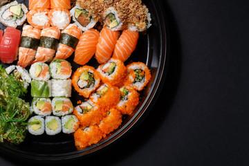 Aluminium Prints Sushi bar Set of sushi macro shot. Japanese food