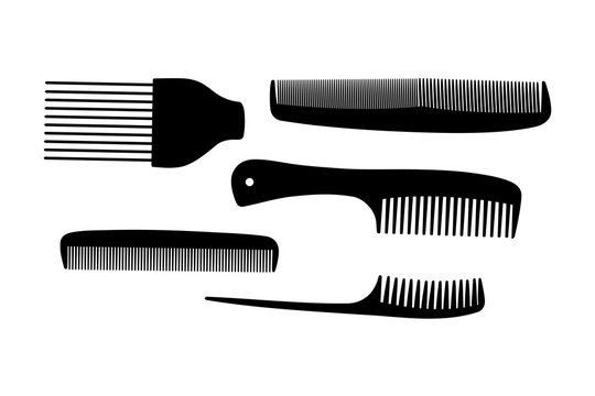 A collection of hair combs silhouettes, vector illustration.