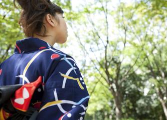 Young woman wearing Yukata, rear view