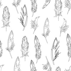 Feather seamless pattern. Hand drawn vector illustration. Boho background. Wrapping paper. Nature.