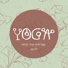 Vector yoga icon, linear logo design, line yoga badge. Graphic design element in contour for creation of banner for spa center of yoga school studio. Decorative vector element with yoga lettering