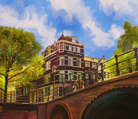 Amsterdam on a spring sunny afternoon. Holland Netherlands. View from the canal to the embankment with bicycles, green trees and the facade of the house. Digital art.