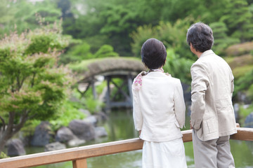 Mature couple looking at pond, Rear view