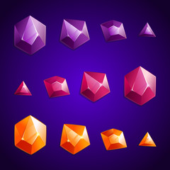 Cartoon crystal set of different shapes.    Shades of violet  stone. GUI and UI elements.