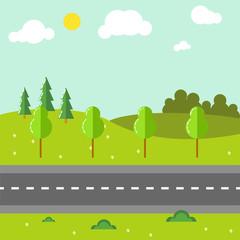 Keuken foto achterwand Lime groen Rural landscape with road vector illustration.