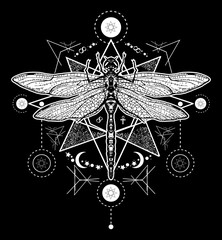 Dragonfly tattoo. Hand drawn mystical symbols and insects. Dragonfly tattoo sketch. Alchemy, religion, occultism, spirituality, dragonfly tattoo art, coloring books