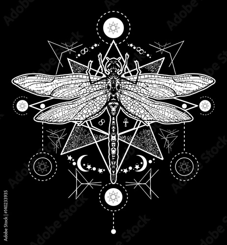 6366f3738 Hand drawn mystical symbols and insects. Dragonfly tattoo sketch. Alchemy,  religion, occultism, spirituality, dragonfly tattoo art, coloring books