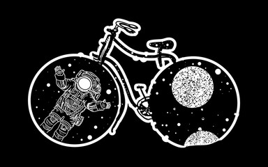 Bicycle tattoo art. Travel, adventure, outdoors, meditation, tattoo bicycle symbol. Astronaut in deep space tattoo. Bicycle wheels in which the universe tattoo