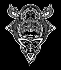 Viking warrior tattoo. Northern warrior, t-shirt design.  Celtic emblem of Odin. Northern dragons, viking helmet, ethnic style
