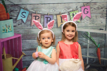 little girls wearing bunny ears