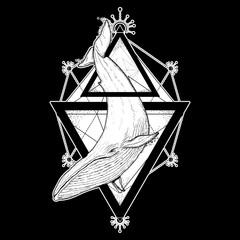 Whale tattoo geometric style. Mystical symbol of adventure, dreams. Creative geometric whale tattoo art t-shirt print design. Travel, adventure, outdoors symbol