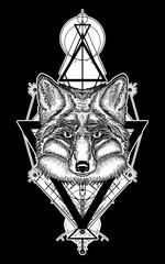 Fox tattoo geometric style. Mystical symbol of adventure, dreams