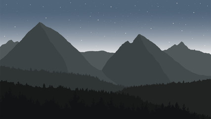 View of the mountain landscape with forests under the night sky with stars - vector