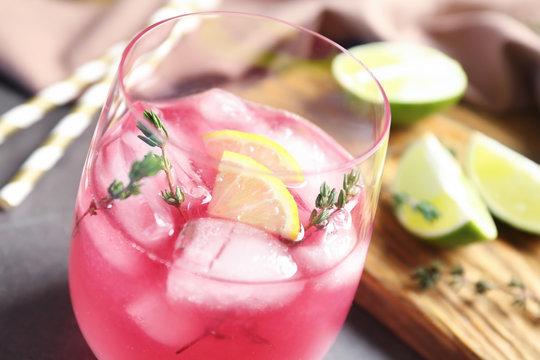 Glass with delicious wine spritzer, closeup