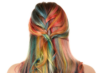 Trendy hairstyle concept. Young woman with colorful dyed hair on white background