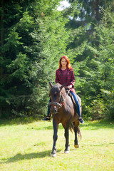 beautiful young woman on the wonderful horse on the natural forest background