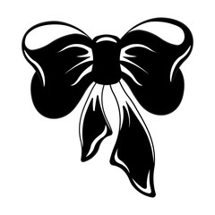 Image of a silhouette of a bow and ribbons of black color on a white background