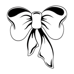 Image of a white bow and ribbons with a black outline on a white background