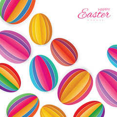 Origami Happy Easter Greating card. Colorful Paper cut Easter Egg. White background.