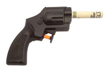 Toy plastic handgun with $20 bill barrel.