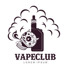 Vape, e-cigarette emblems, labels, prints and logo. Vector vintage illustration. Isolated on white background.