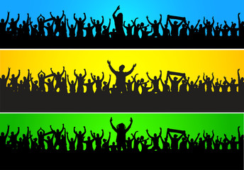 Background with cheering people