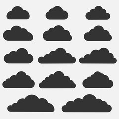 Set of cloud icons on grey background. Collection of different cloud icons.Vector illustration.
