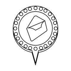 monochrome silhouette of envelope mail and circular speech with contour dotted and tail vector illustration