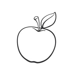 Vector illustration. Hand drawn doodle of apple with stem and leaf. Healthy vegetarian food. Cartoon sketch. Decoration for greeting cards, posters, emblems, wallpapers