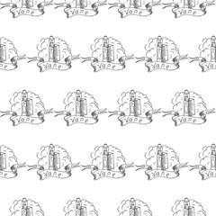 vape doodle seamless vector pattern