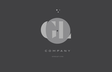 gl g l  grey modern alphabet company letter logo icon
