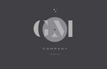 gm g m  grey modern alphabet company letter logo icon