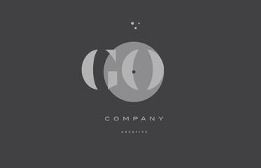 go g o  grey modern alphabet company letter logo icon